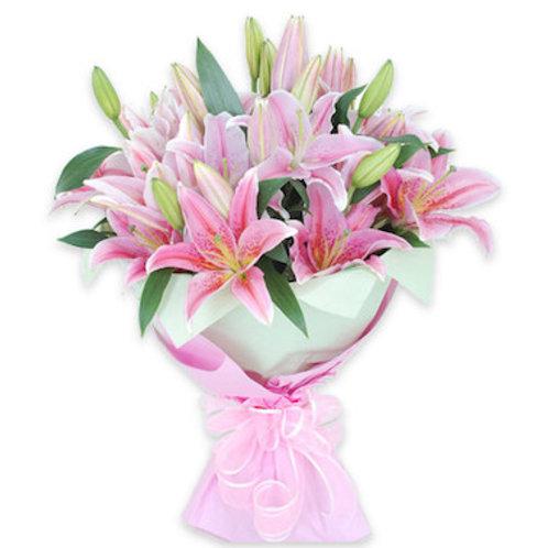 19 розовых азиатских лилий
