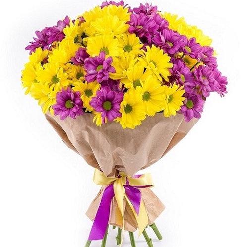 Букет 9 желто-сиреневых кустовых хризантем Бакарди