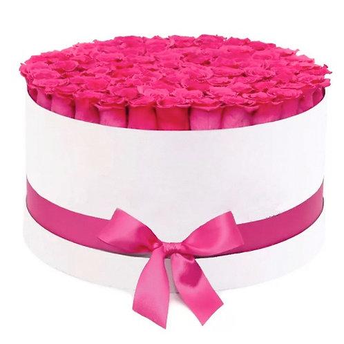 101 розовая роза Эквадор Пинк Флойд в шляпной коробке