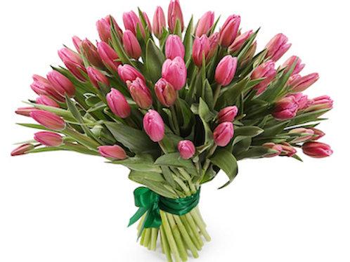 Лилиецветные розовые тюльпаны (от 50 шт.)
