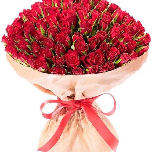 101 красная кенийская роза 40 см