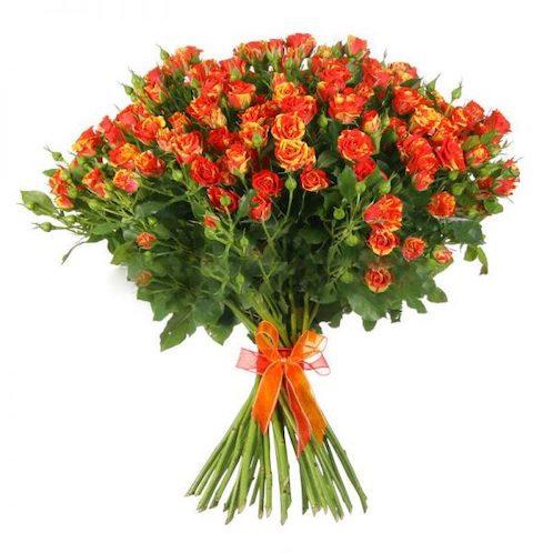 Кустовые желто-оранжевые розы поштучно (от 10 шт.)