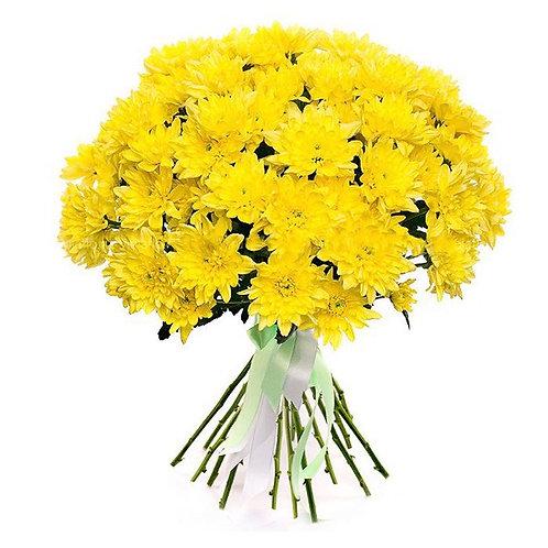 """Кустовые желтые хризантемы """"Балтика"""" поштучно"""