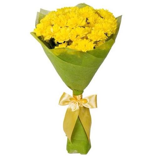 "Букет из 5 желтых кустовых хризантем ""Бакарди"""