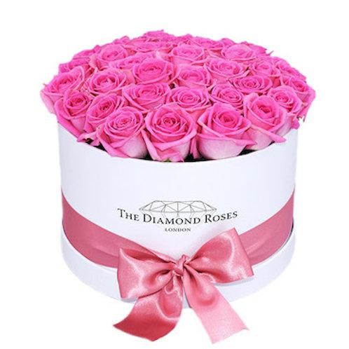 """35 роз """"Аква"""" в шляпной коробке"""