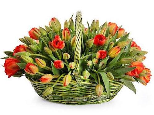 101 красно-желтый тюльпан в корзине
