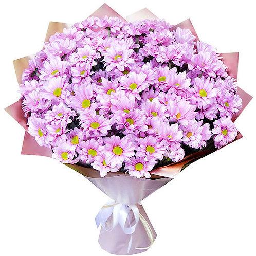 """Букет из 15 розовых кустовых хризантем """"Бакарди"""""""