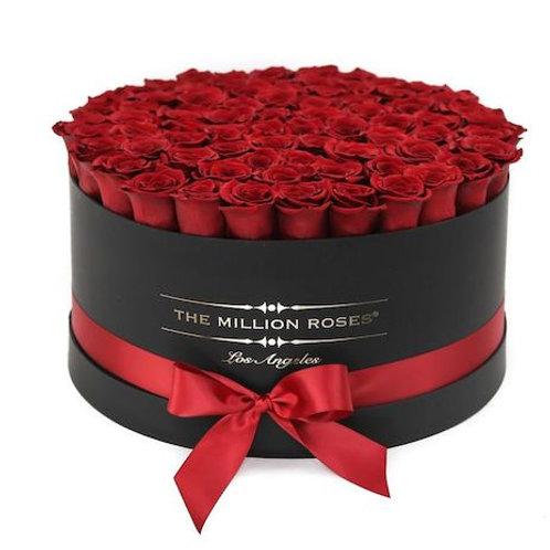 """101 роза премиум Эквадор """"Фридом"""" в шляпной коробке"""