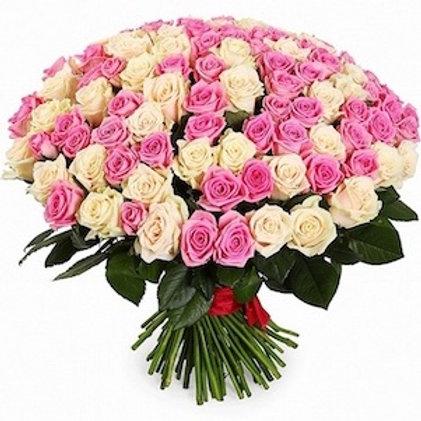 """101 роза """"Аваланж"""" и """"Аква"""""""