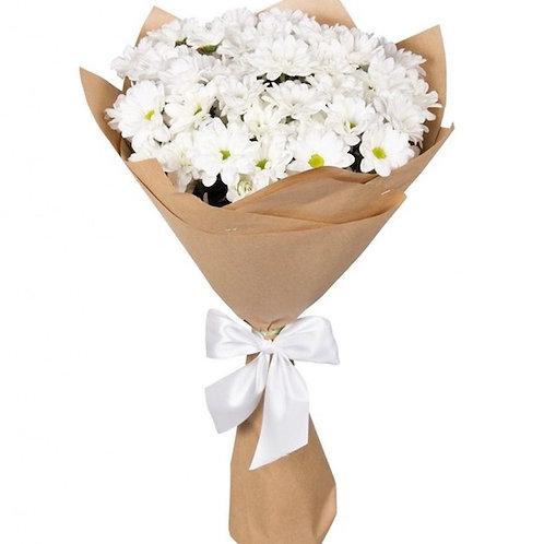 Букет из 9 белых кустовых хризантем Бакарди