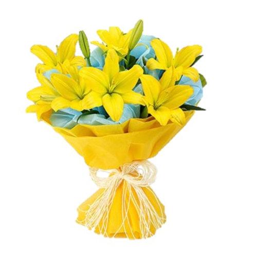 9 желтых азиатских лилий