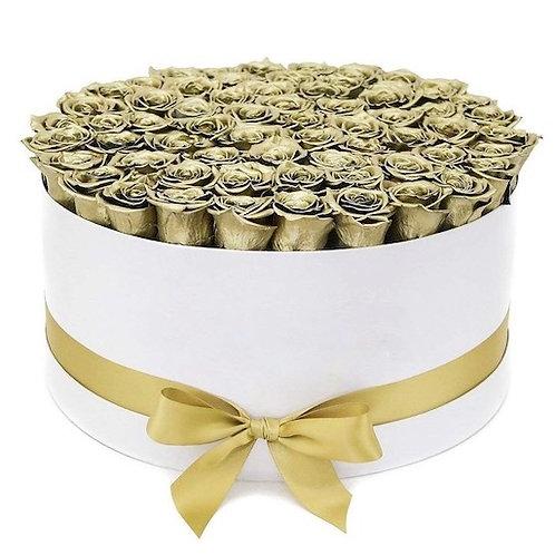 101 золотая роза премиум Эквадор в шляпной коробке