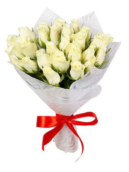Белые кенийские розы 40 см поштучно (от 1 шт.)