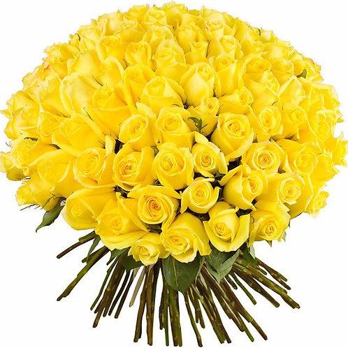 101 желтая кенийская роза 40 см