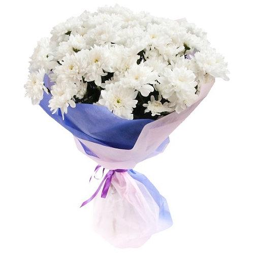 Букет из 9 белых кустовых хризантем Балтика