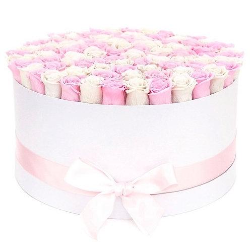 101 бело-розовая роза премиум Эквадор в шляпной коробке