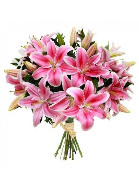 29 розовых азиатских лилий