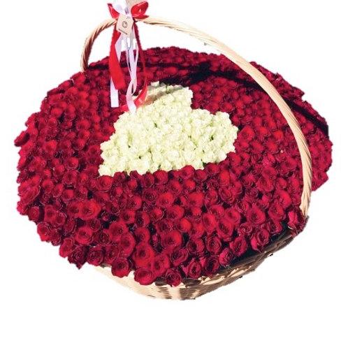 501 красная и белая роза в виде сердца в корзине