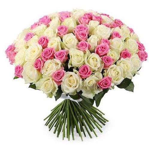 101 бело-розовая кенийская роза 40 см