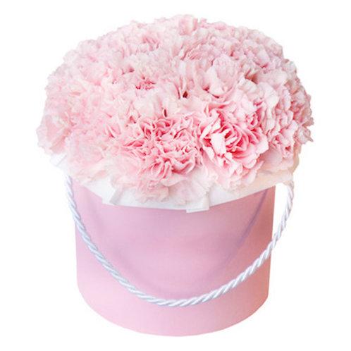 25 нежно-розовых гвоздик в шляпной коробке