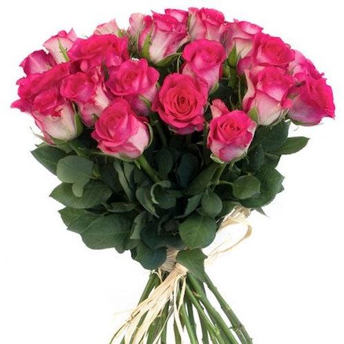 25 бело-розовых кенийских роз 40 см