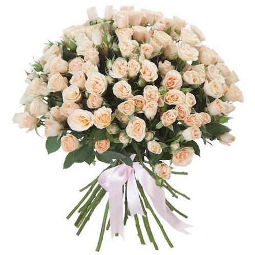 Кустовые персиковые розы поштучно (от 10 шт.)