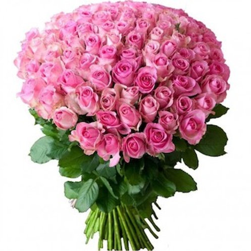59 розовых кенийских роз