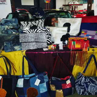 Today we're at the May marketplace at the California Automobile Museum. Showcasing our bags fro