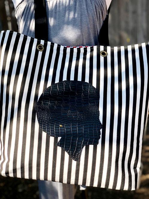 Black/ White Stripe Tote