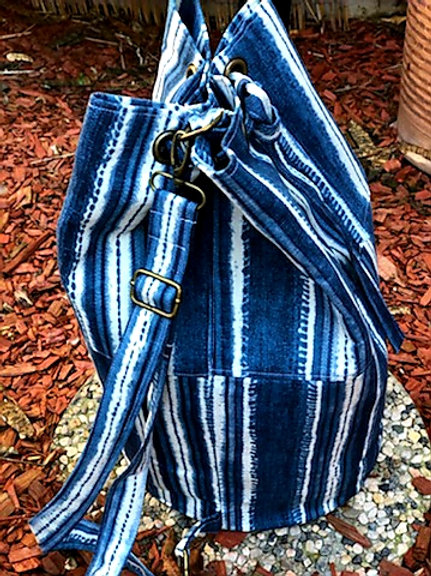 Denim Swirl Bucket Bag