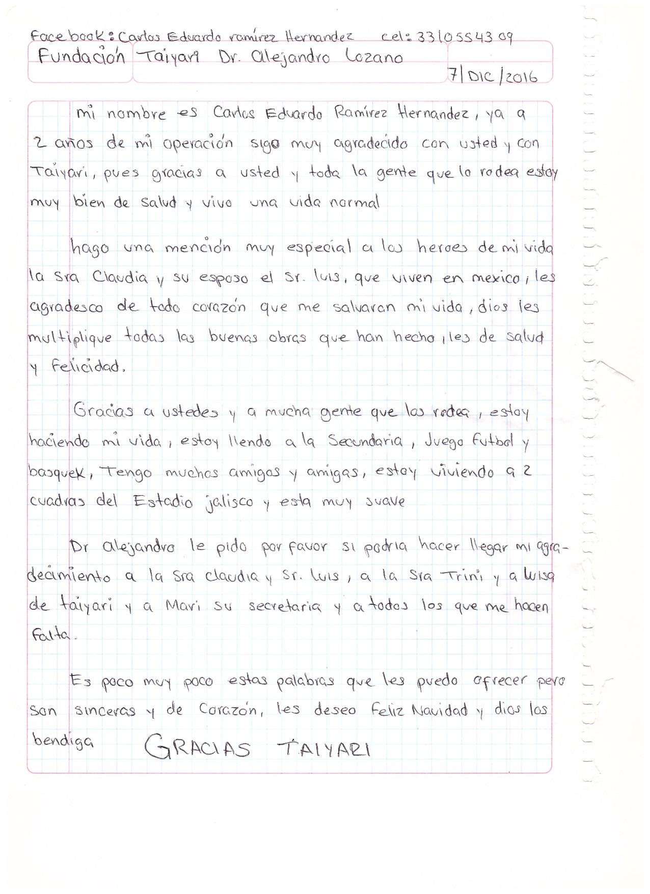 Agradecimiento Carlitos DIC 2016