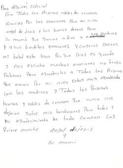 Carta mamá de Ángel