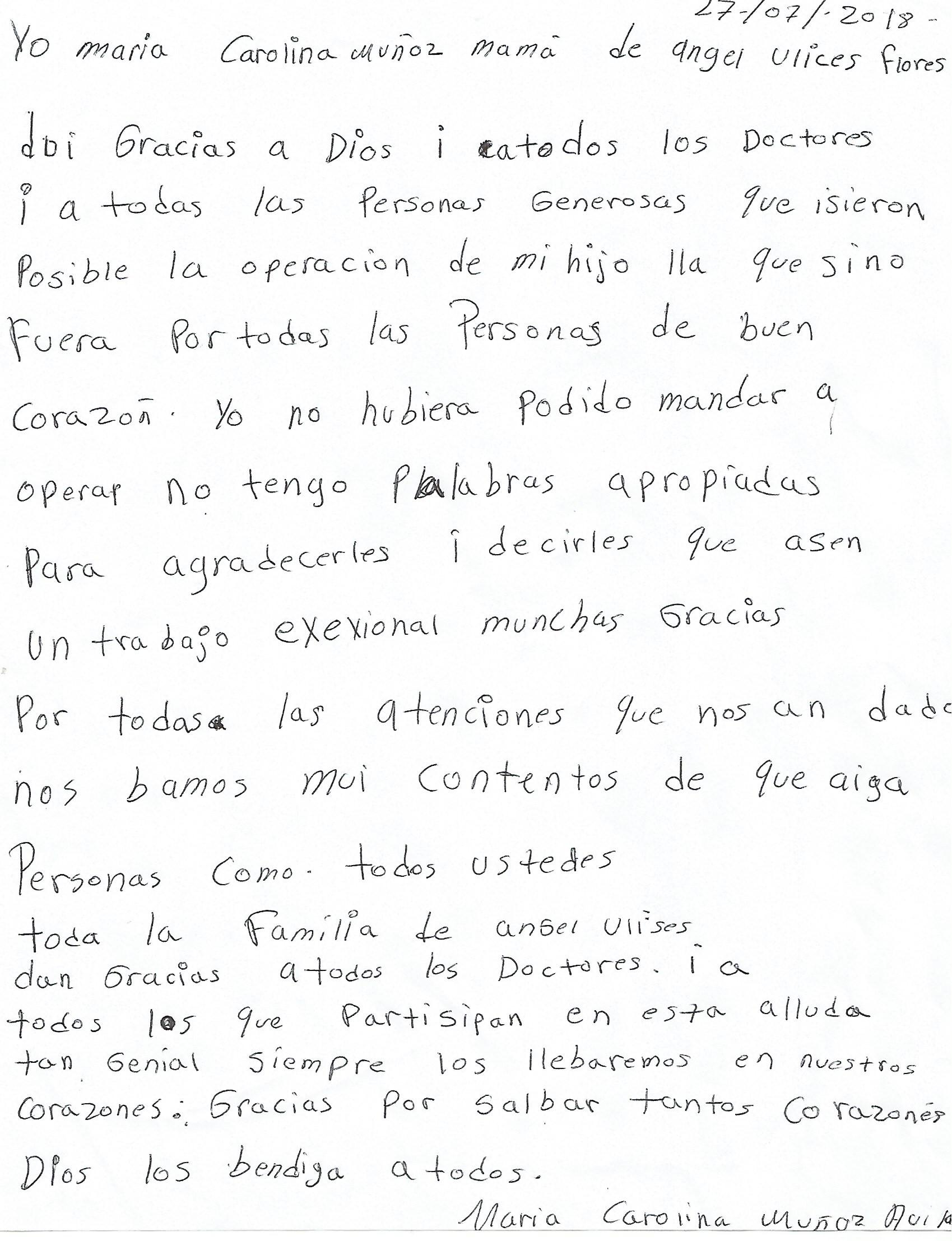 Carta Ángel Ulises