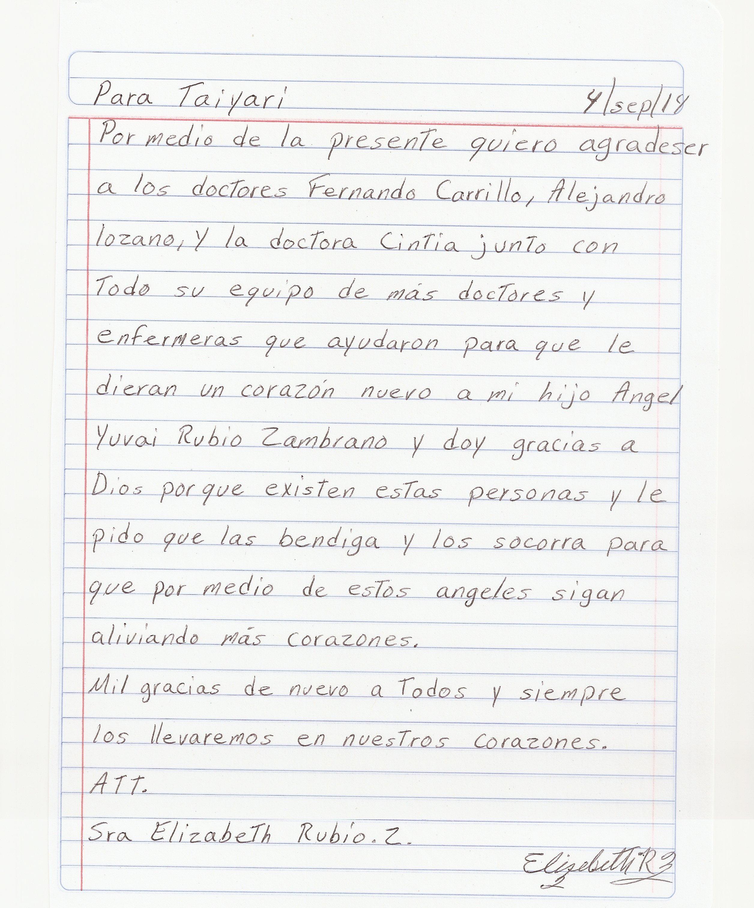 Carta Mamá Angel Yubai