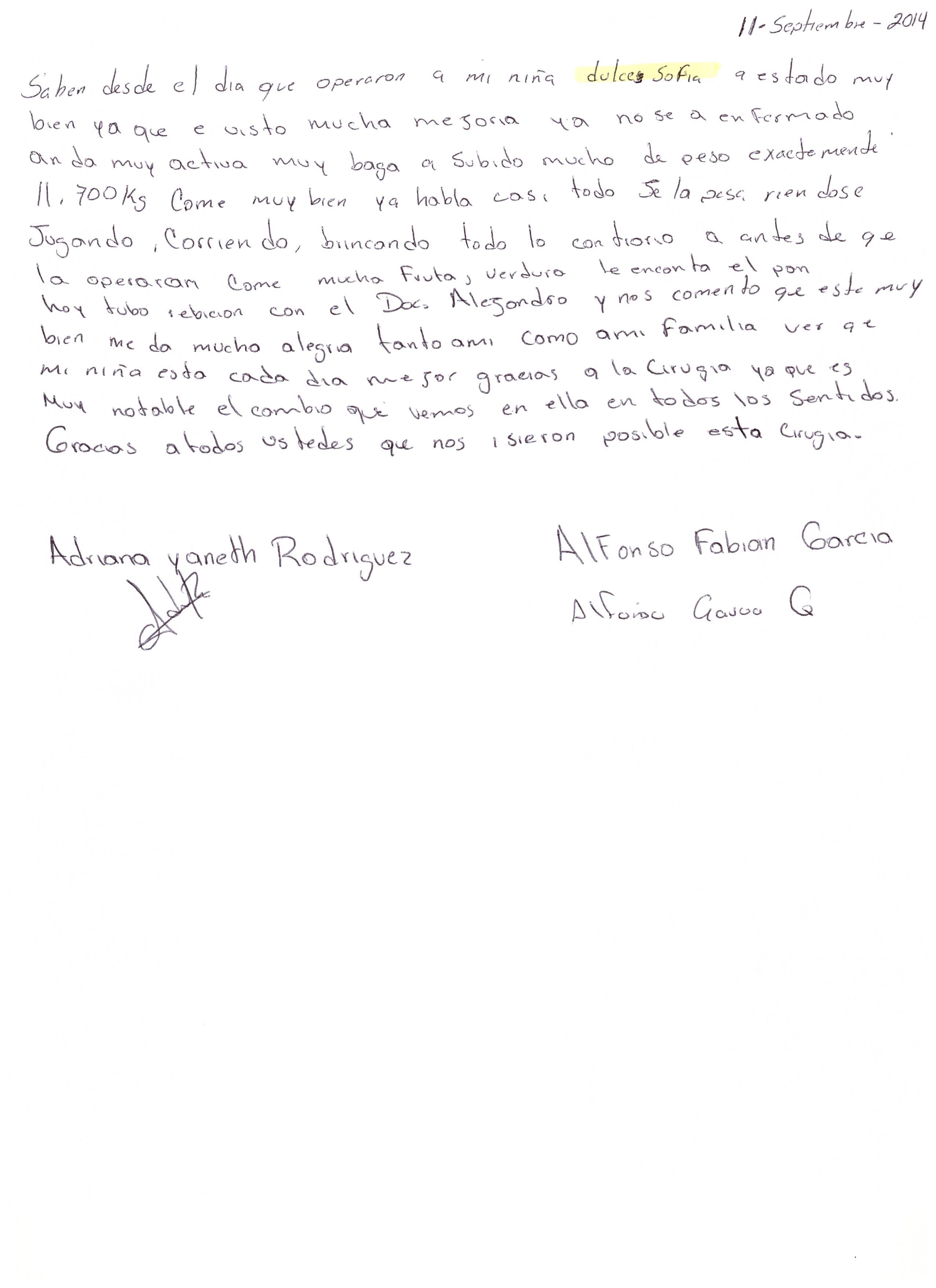 Carta mamá Dulce Sofía