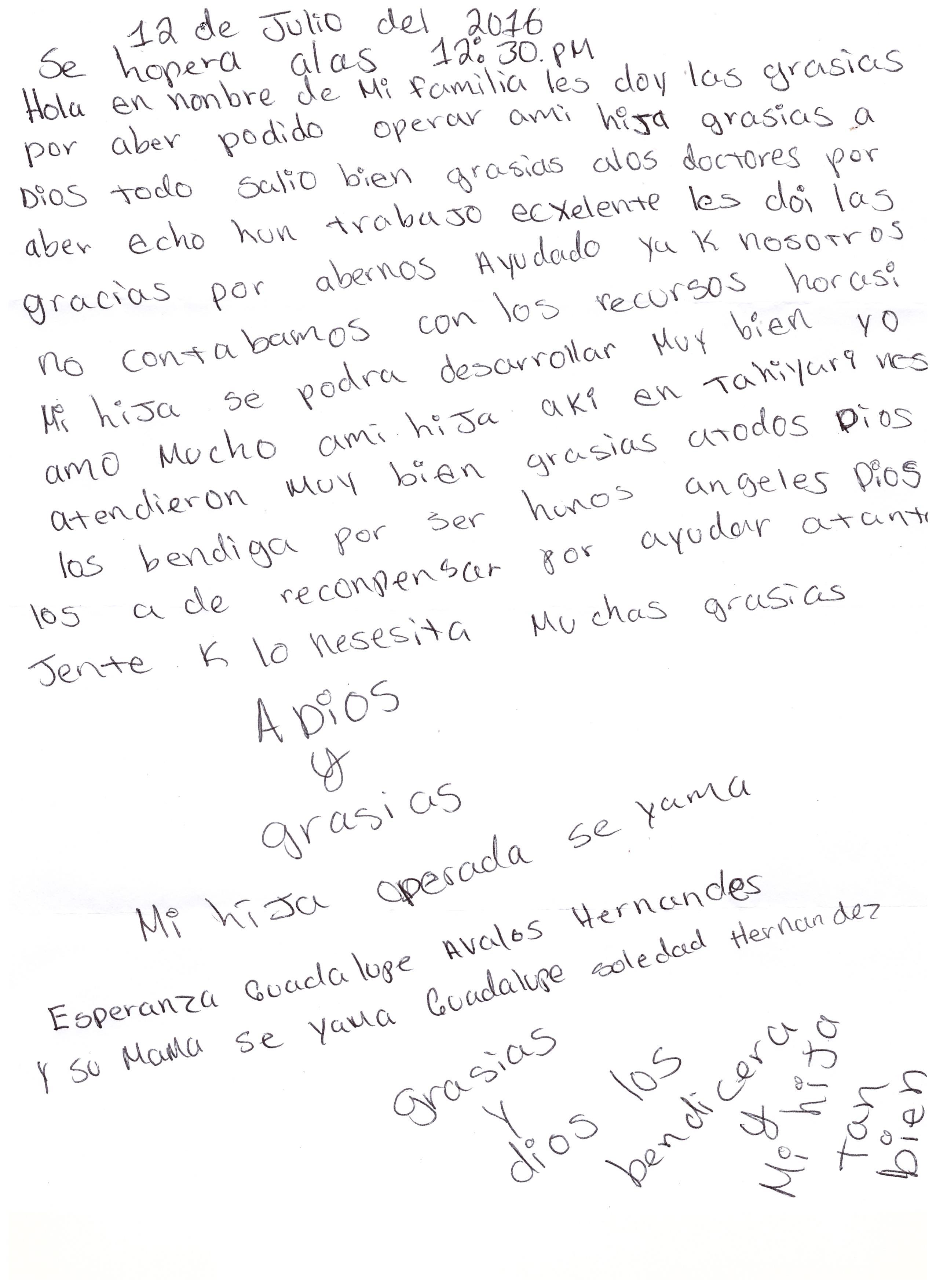 Carta papás de Perita