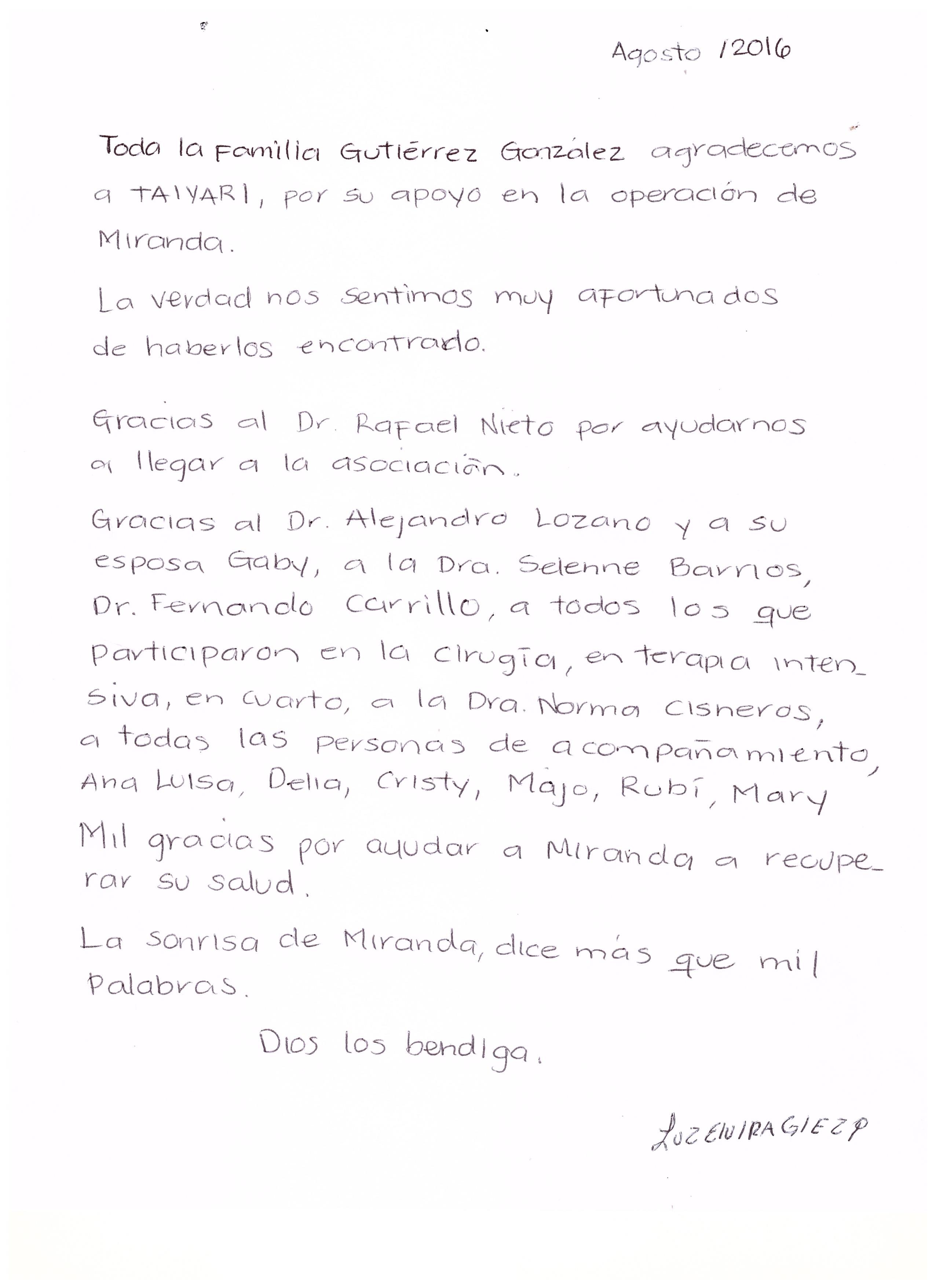 Carta papás de Miranda Gpe