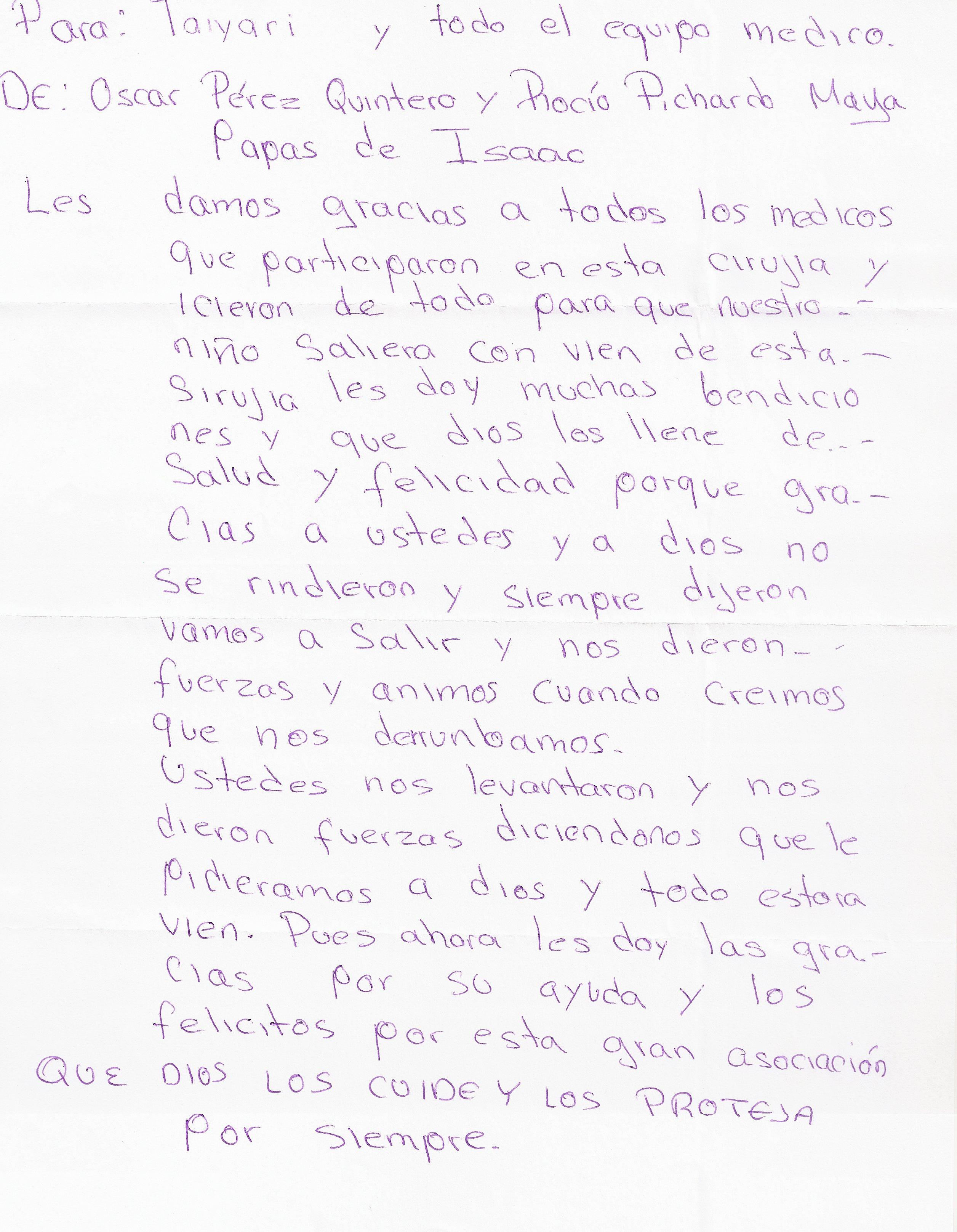 Carta Papás de Isaac