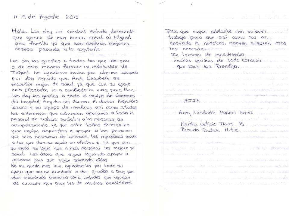 Carta papás Arely
