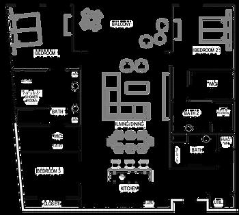 The Station Three Bedroom Condo Floorplan