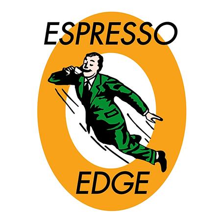 Espresso Edgen logo, käsin piirretty mies vihreässä puvussa ja solmiossa, joka lentää ilmassa oranssin ympyrän sisällä.