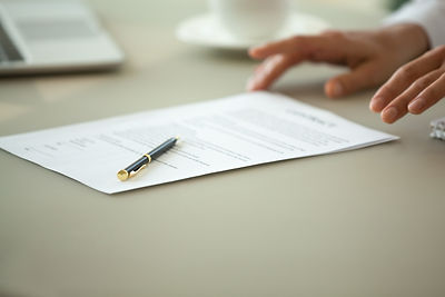 Offering to sign contract concept, busin