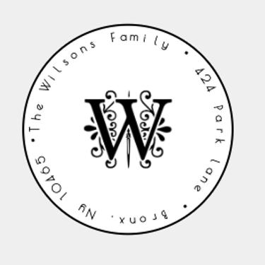 Vine Initial Round Address Label 96 labels - Self-Adhesive