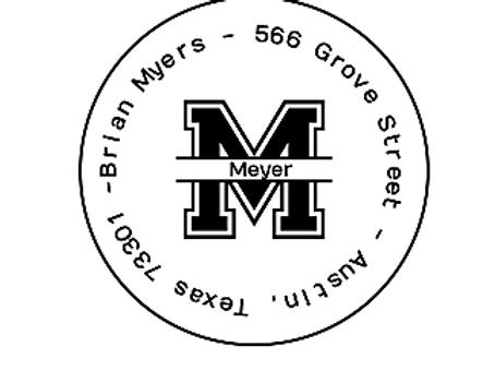 Varsity Style Split Round Address Label - 96 Labels Self-Adhesive