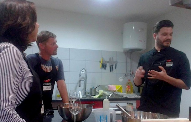 Cooking Class Lisbon Portugal, from left to right: Rosana, Stevie, Chef André Lopes