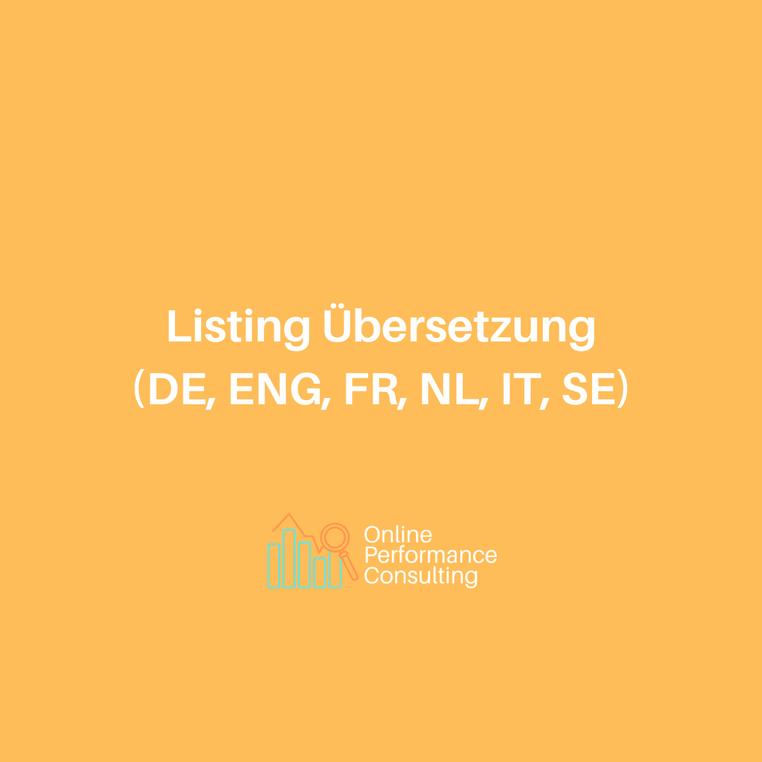 Listing Übersetzung (DE,ENG,FR,NL,IT)
