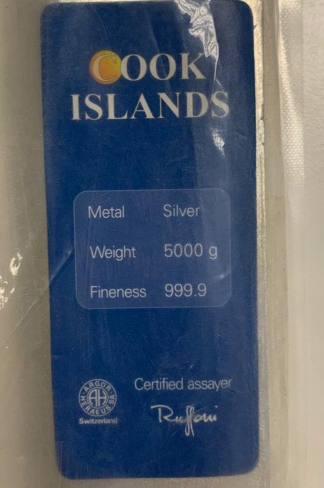5 Kg Silberbarren Cook Islands (mit Zertifikat)