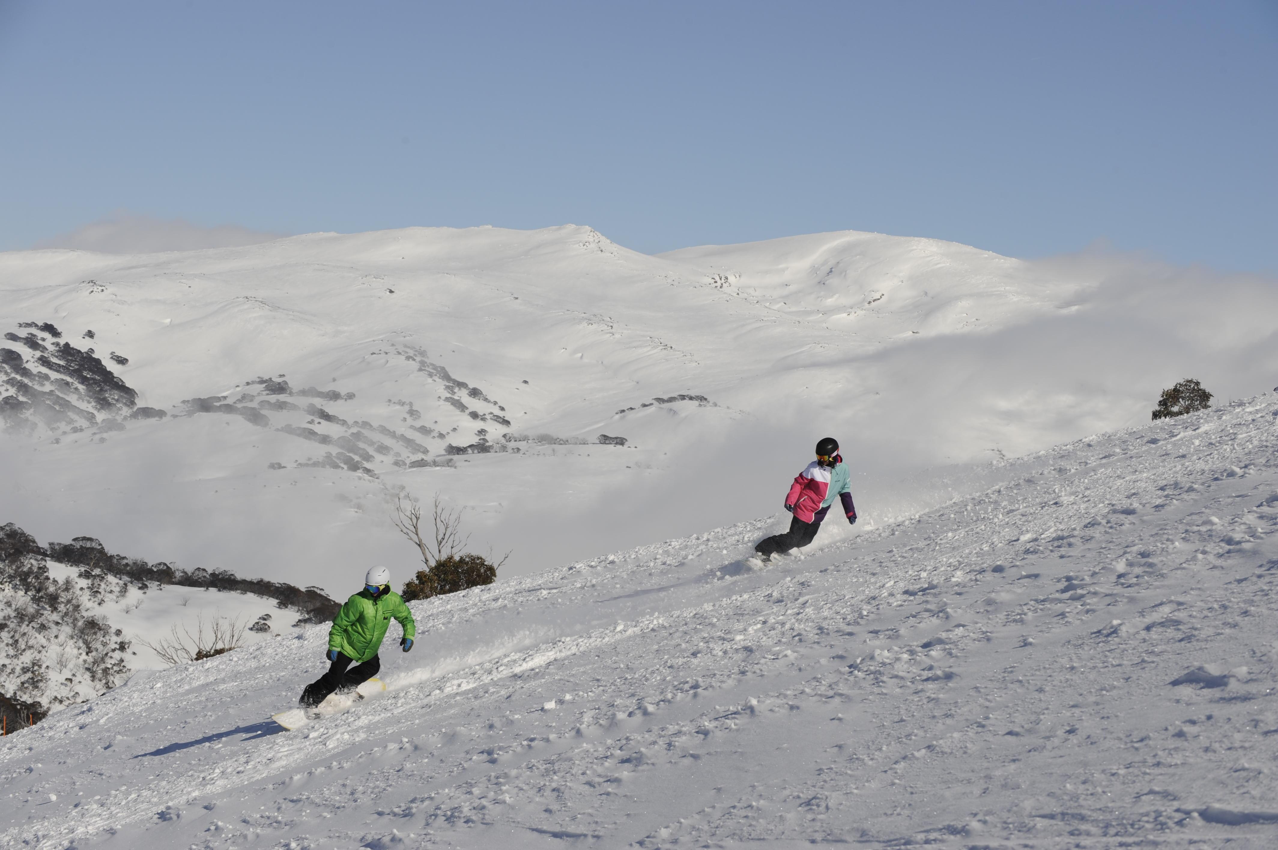 Snowboarding at Guthega, Perisher