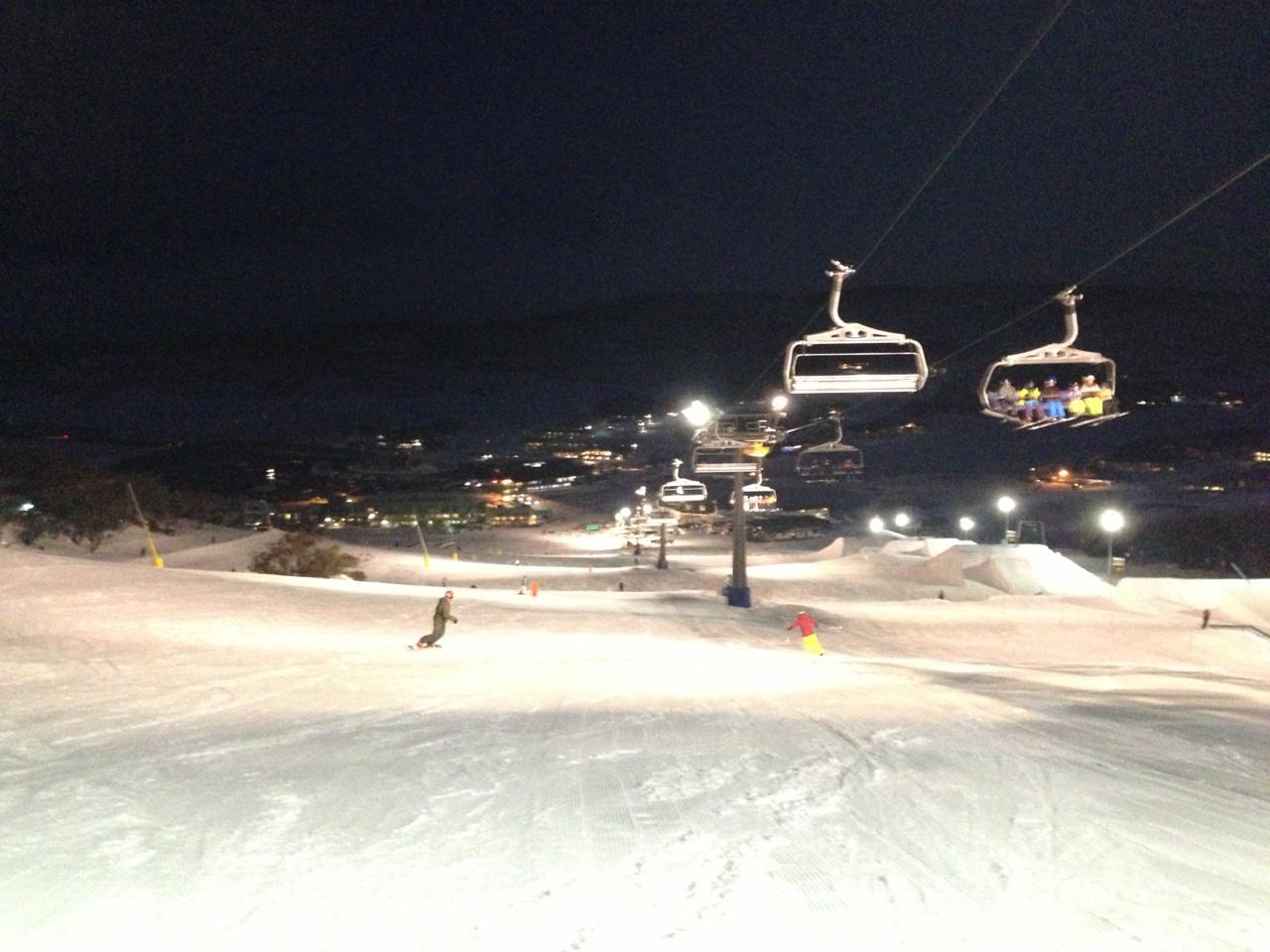 Having Fun Night Skiing