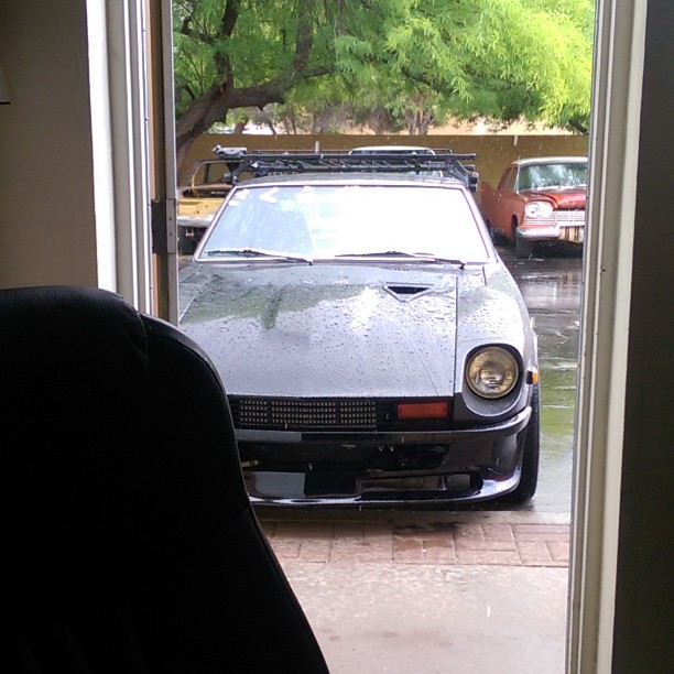 Rainy day at the shop.  Nice view of the front door though..
